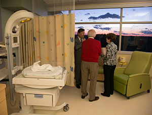 Visitors at the new Level IV NICU during a recent open house.