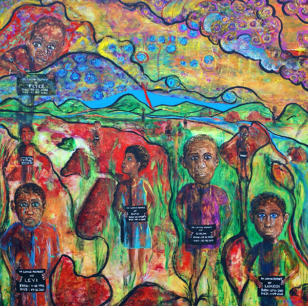"""Dr. McAdams' painting The Orphans honors AIDS orphans in Zambia. It and an accompanying poem """"Baby Cephas"""" were published in the September 2014 issue of Academic Medicine."""