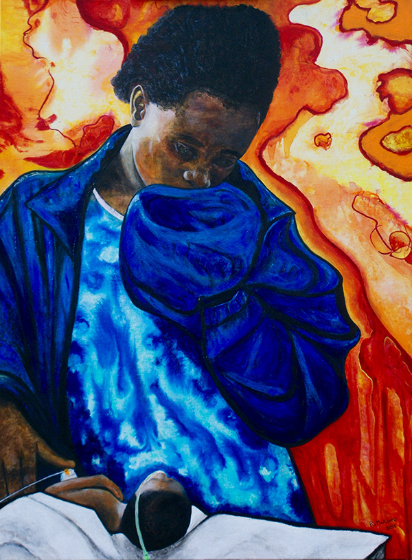 """Dr. McAdams' painting The Girl in Blue and Her Dying Newborn honors a teenaged Ugandan mother and her baby boy, who died the day after Dr. McAdams cared for him. It and an accompanying poem """"Girl Mother Blue"""" were published in the May 2016 issue of Academic Medicine."""