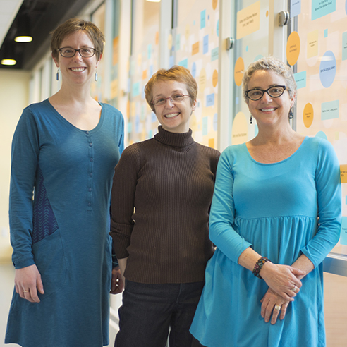 The Pediatric and Adolescent Transgender Health clinic team, from left: Brittany Allen, MD; Jennifer Rehm, MD; and Betsy Bazur-Leidy, RN (not pictured: Kelli Harford, PhD).